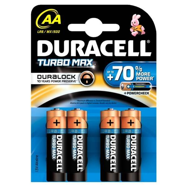 Batéria alkalická Duracell Turbo AA, LR06, blistr 4ks