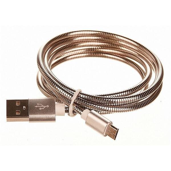 Kabel CellFish USB/micro USB, kovový, 1m (CELLKOVSILVER) stříbrný