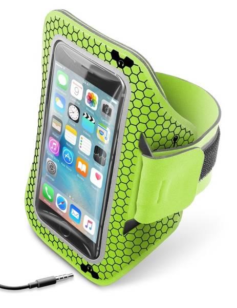 """Púzdro na mobil športové CellularLine Armband running, 5,2"""" (441071) žltá farba/zelená farba"""