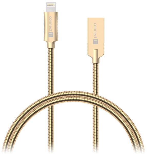 Kabel Connect IT Wirez Steel Knight USB/Lightning, ocelový, opletený, 1m (CCA-4010-GD) zlatý