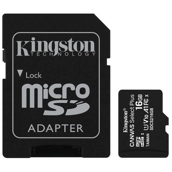 Paměťová karta Kingston Canvas Select Plus MicroSDHC 16GB UHS-I U1 (100R/10W) + adapter (SDCS2/16GB)