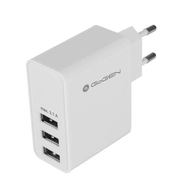 Nabíječka do sítě GoGEN ACH 300, 3x USB, 3,1A (GOGACH300) bílá