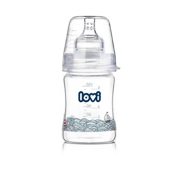 Dojčenská fľaška LOVI Diamond Glass 150ml Marine čirá/modrá