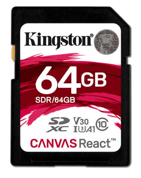 Paměťová karta Kingston Canvas React SDXC 64GB UHS-I U3 (100R/80W) (SDR/64GB)