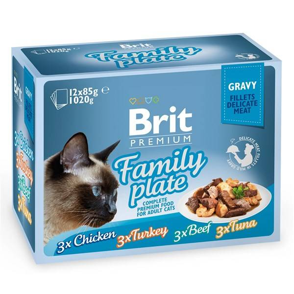 Kapsička Brit Premium Premium Cat Delicate Fillets in Gravy Family Plate 12 x 85g