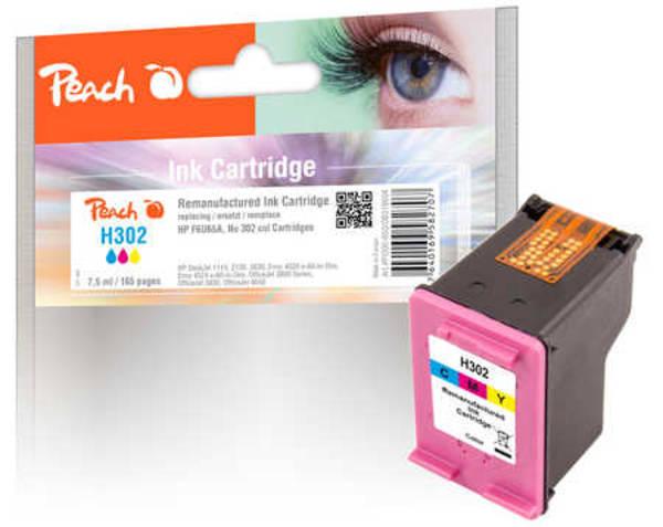 Inkoustová náplň Peach HP 302,180 stran, kompatibilní (319604) červená/modrá/žlutá