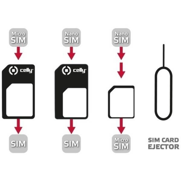 Redukcia Celly z nanoSIM na microSIM a miniSIM karty SIMKITAD (SIMKITAD)