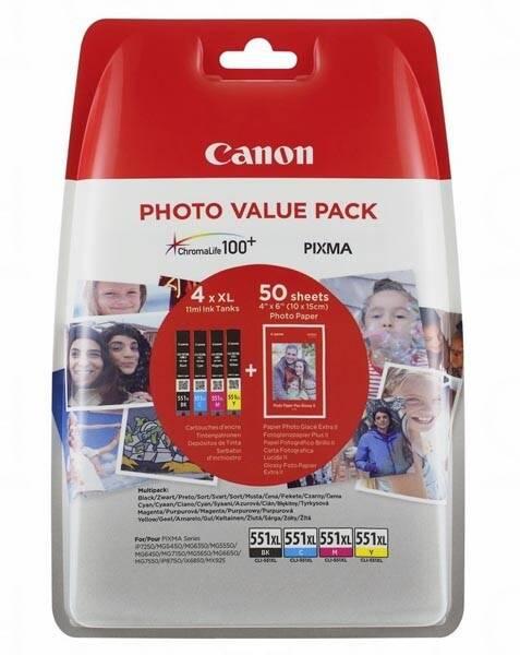 Inkoustová náplň Canon CLI-551 XL Photo Value Pack, CMYK (6443B006)