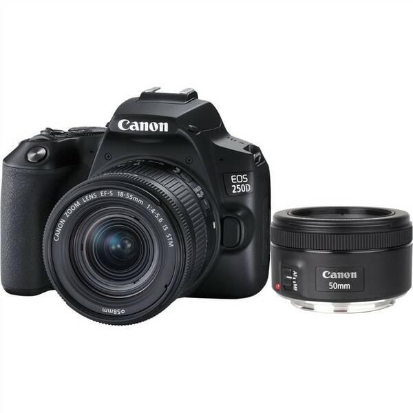 Digitální fotoaparát Canon EOS 250D + 18-55 IS STM + 50f/1.8 STM (3454C013) černý
