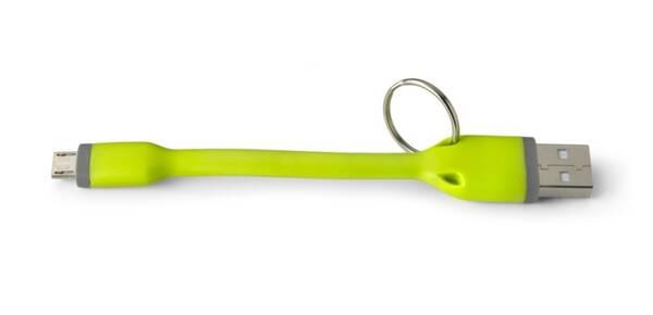 Kabel Celly USB/micro USB, přívěšek, 12 cm (451080) zelený