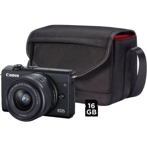 Digitální fotoaparát Canon EOS M200 + EF-M 15-45 IS STM + SB130 + 16 GB karta (3699C040) černý