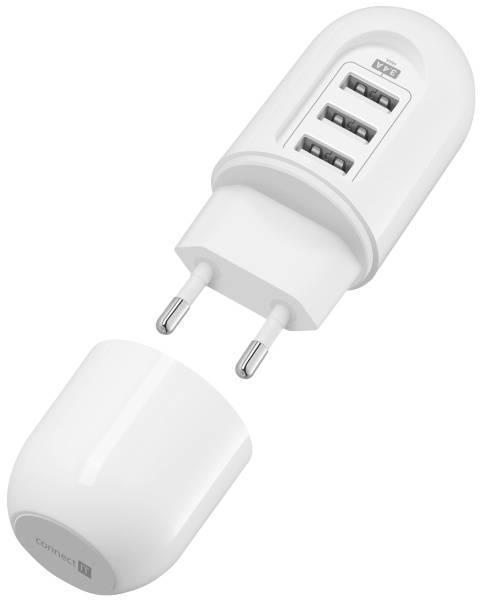 Nabíjačka do siete Connect IT Power Nomad, 3x USB (3,4A) (CI-1202) biela