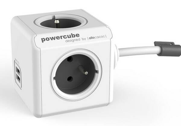 Kábel predlžovací Powercube Extended USB, 4x zásuvka, 2x USB, 3m biely