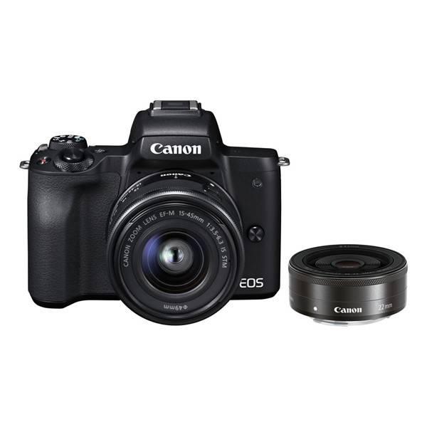 Digitální fotoaparát Canon EOS M50 15-45 IS STM + M 22 (2680C032) černý