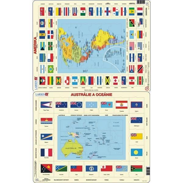 Puzzle Larsen Mapa Ameriky, Austrálie a Oceánie + vlajky 2ks