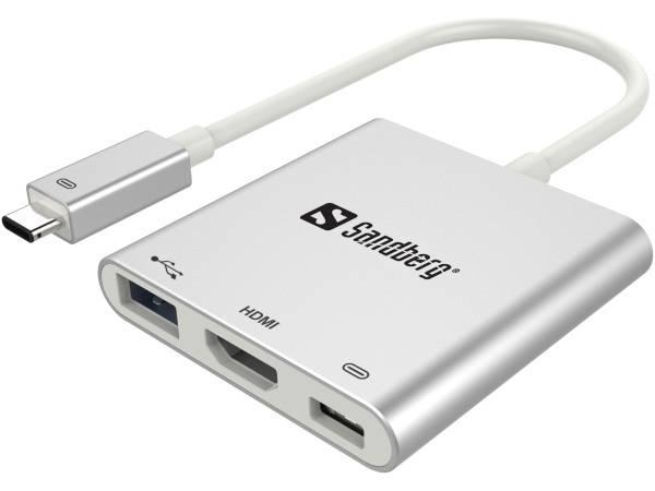 Port replikátor Sandberg USB-C Mini Dock (136-00) stříbrná