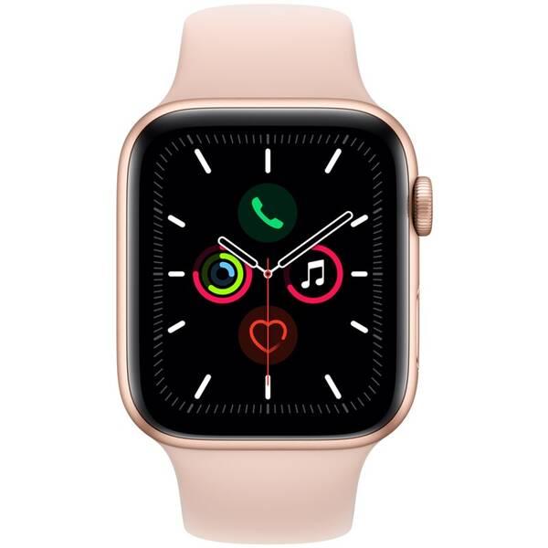 Chytré hodinky Apple Watch Series 5 GPS 44mm pouzdro ze zlatého hliníku - pískově růžový sportovní řemínek (MWVE2HC/A)