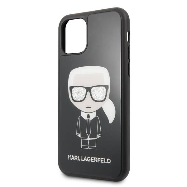 Kryt na mobil Karl Lagerfeld Glitter Iconic pro Apple iPhone 11 Pro (KLHCN58DLFKBK) černý (poškozený obal 8800381412)