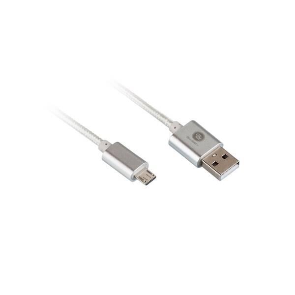 Kábel GoGEN USB/micro USB, 1m, oplétáný (MICUSB 100 MM05) strieborný