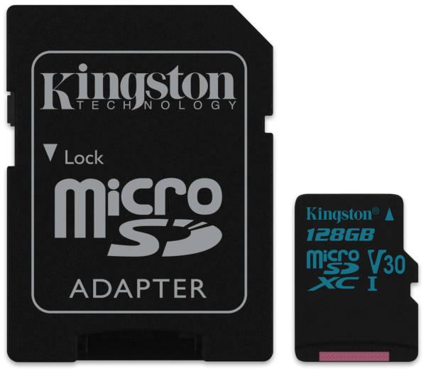 Paměťová karta Kingston Canvas Go! MicroSDXC 128GB UHS-I U3 (90R/45W) + adapter (SDCG2/128GB)
