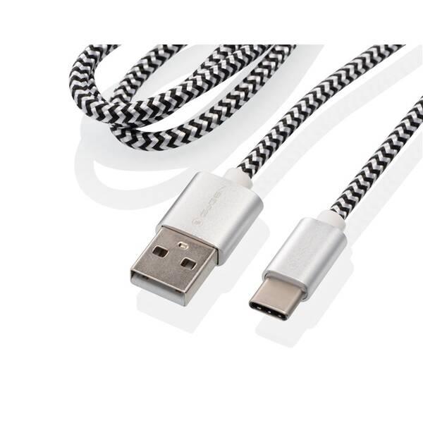 Kabel GoGEN USB / USB-C, 1m, opletený, zkumavka (USBAC100MM24T) stříbrný