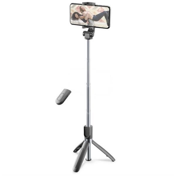 Selfie tyč CellularLine Freedom s funkcí tripodu (BTSELFIESTICKFREEK) černá
