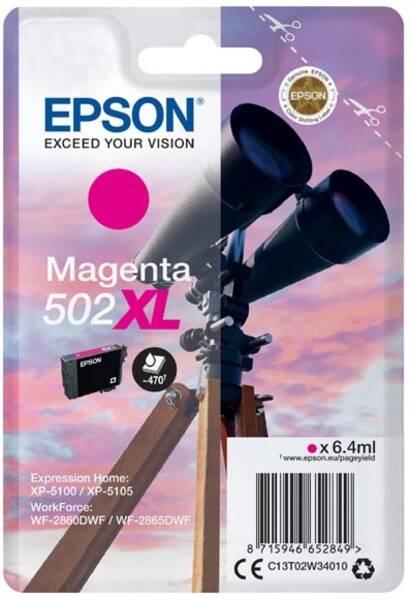 Inkoustová náplň Epson 502XL, 470 stran (C13T02W34010) červená