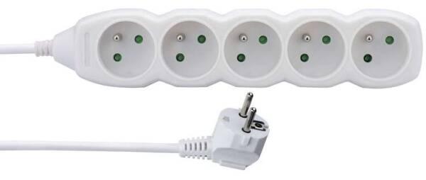 Kabel prodlužovací EMOS 5x zásuvka, 1,5m (1902050150) bílý