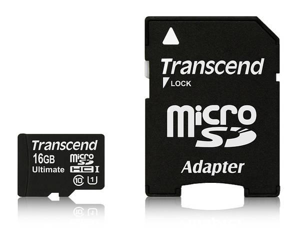 Pamäťová karta Transcend MicroSDHC 16GB UHS-I U1 (90MB/s) + adapter (TS16GUSDHC10U1)