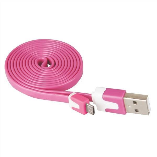Kabel EMOS Wirez USB/micro USB, 1 m růžový