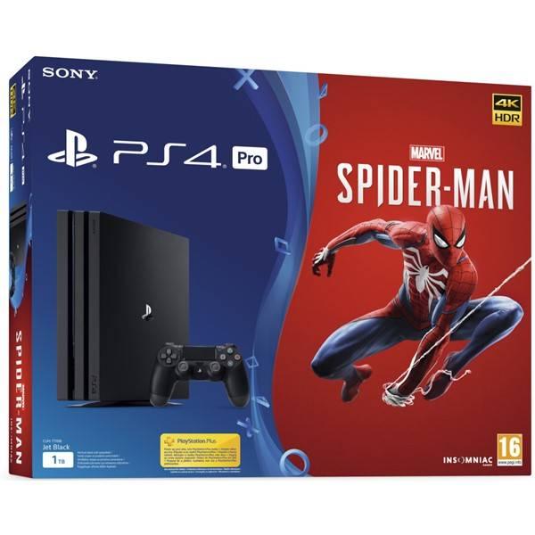 Herná konzola Sony PlayStation 4 Pro 1TB + hra Spider-Man (PS719781011) čierny