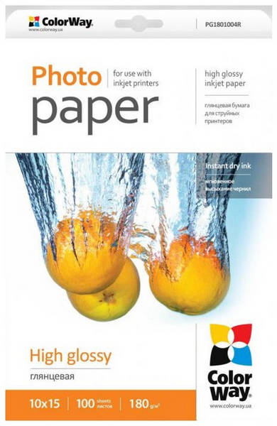 Fotopapier ColorWay 180g/m2, 10x15/ 100 kusů (PG1801004R)