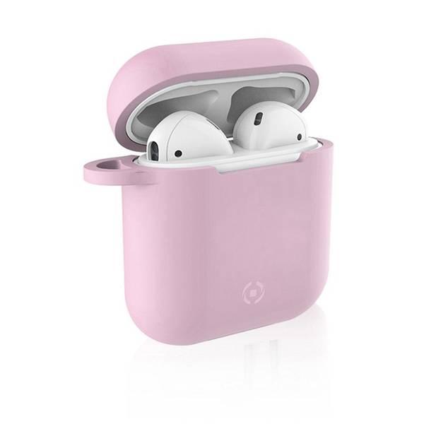Pouzdro Celly Aircase pro Apple AirPods + nástavce do uší (AIRCASEPK) růžové