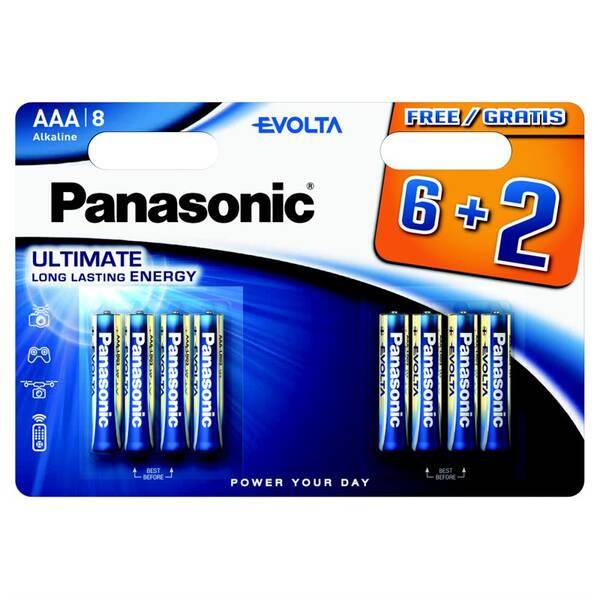 Baterie alkalická Panasonic Evolta AAA, LR03, blistr 6+2ks (226839)