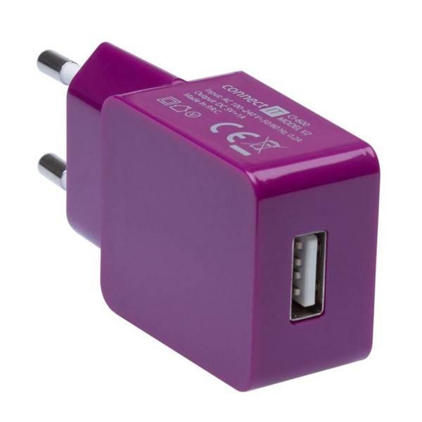 Nabíječka do sítě Connect IT COLORZ USB, 1A (CI-600) fialová