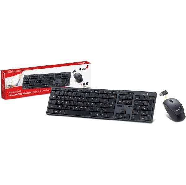 Klávesnice s myší Genius Slimstar 8000ME, CZ/SK (31340045111) černá (vrácené zboží 8800151621)