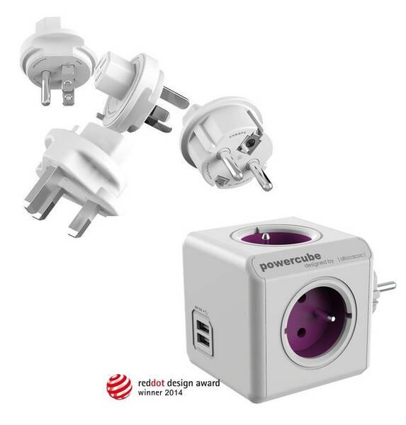 Cestovný adaptér Powercube ReWirable USB + Travel Plugs - fialový fialový