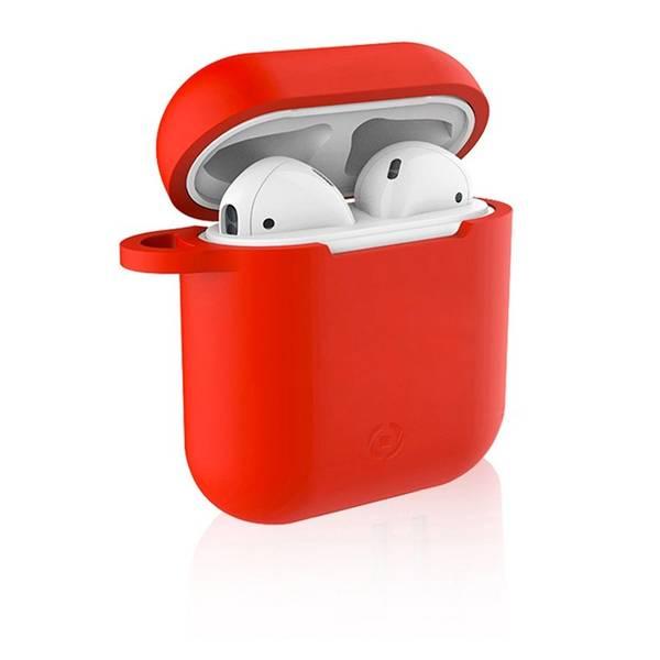 Pouzdro Celly Aircase pro Apple AirPods + nástavce do uší (AIRCASERD) červené