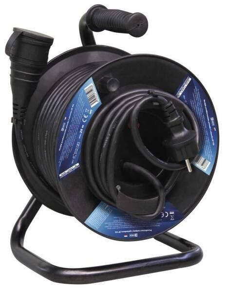 Kabel prodlužovací na bubne EMOS 1x zásuvka, 25m (1908212500) čierny
