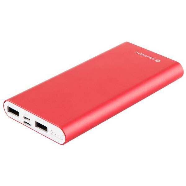 Powerbank GoGEN 10000 mAh, vstup mikro USB 5V/2A, vstup Lightning 5V/1A, výstup USB1 5V/1A, USB2 5V/2,1A (PB100004RW) červená