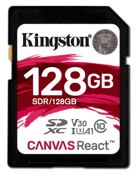 Paměťová karta Kingston Canvas React SDXC 128GB UHS-I U3 (100R/80W) (SDR/128GB)