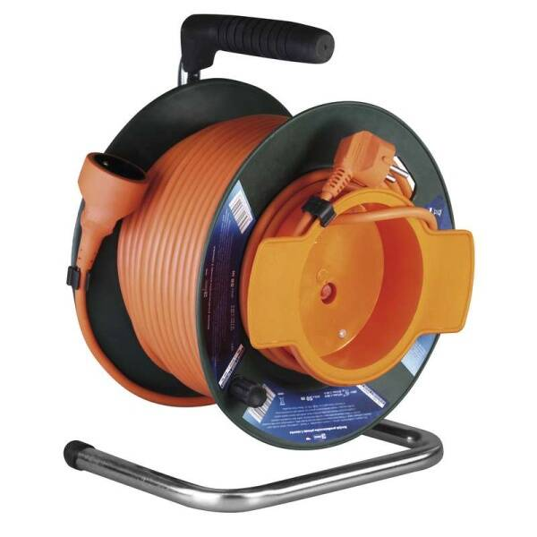 Kabel prodlužovací na bubnu EMOS 1x zásuvka, 50m (1908015001) oranžový