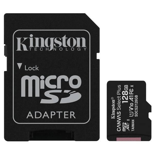 Paměťová karta Kingston Canvas Select Plus MicroSDXC 128GB UHS-I U1 (100R/10W) + adapter (SDCS2/128GB)