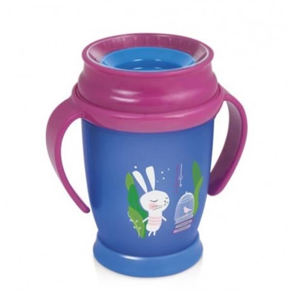 Dětský hrníček LOVI 360 JUNIOR Rabbit s úchytky 250ml modrý/růžový