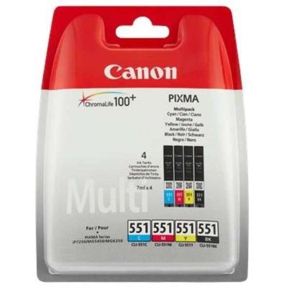 Inkoustová náplň Canon CLI-551, 4x 7ml - originální (6509B009) černá/červená/modrá/žlutá