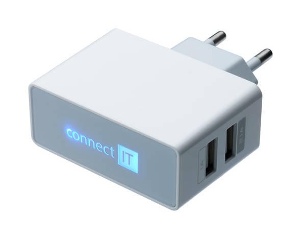 Nabíječka do sítě Connect IT 2x USB, 2.1 A/1 A (CI-151) bílá