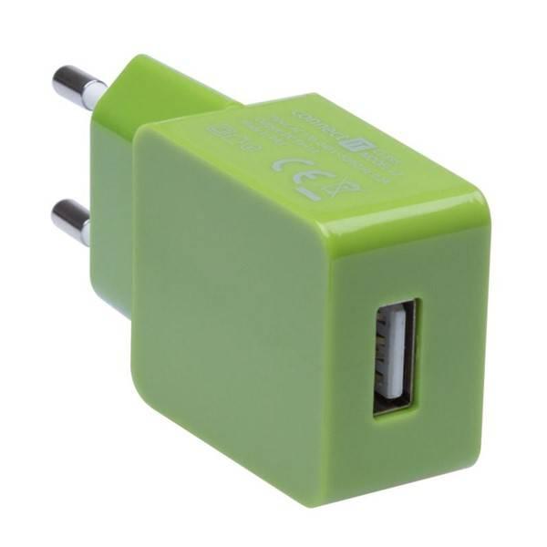 Nabíječka do sítě Connect IT COLORZ USB, 1A (CI-595) zelená