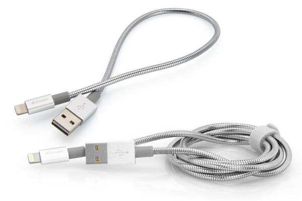 Kabel Verbatim USB/Lightning, 1m + 0,3m (48873) stříbrný