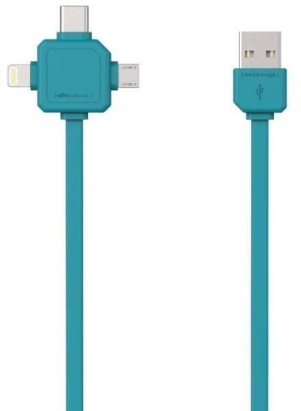 Kabel Powercube USB/micro USB + Lightning + USB-C, 1,5m (8719186003959) modrý