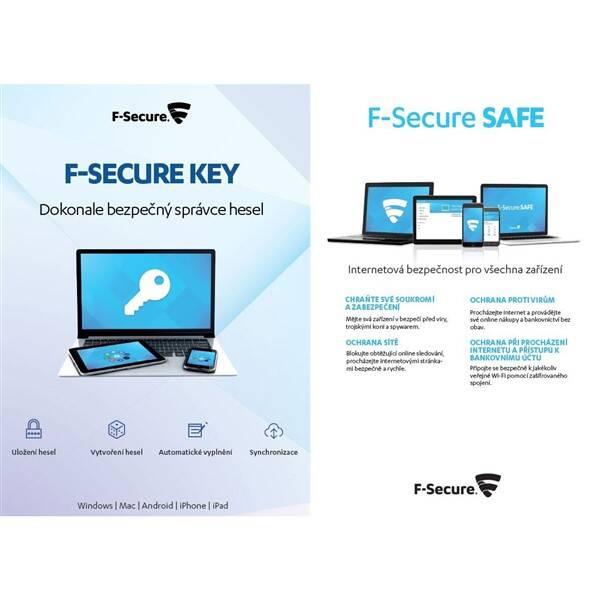 Software F-Secure TOTAL,  3 zařízení / 1 rok + KEY Premium X zařízení / 2 roky (FCFTBR1N003G1KEY)